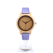 BOBO BIRD J08 Children's Cute Simple Design Wood Watches with PU Leather Band Kids Women Quartz Watch