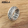 Punk Vintage Scripture Flower Ring real 925 sterling silver 925 jewelry for Men Rngs fashion fine jewelry Thai Silver