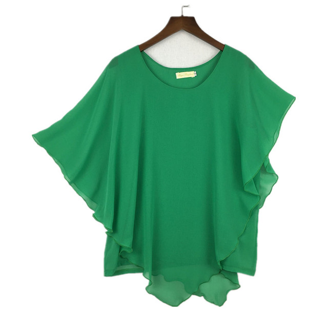 plus size S-4XL 5XL 6XL Summer Women Chiffon Blouses Bating Sleeve chiffon shirts blousas shirts,18 color vestidos casual shirts 4