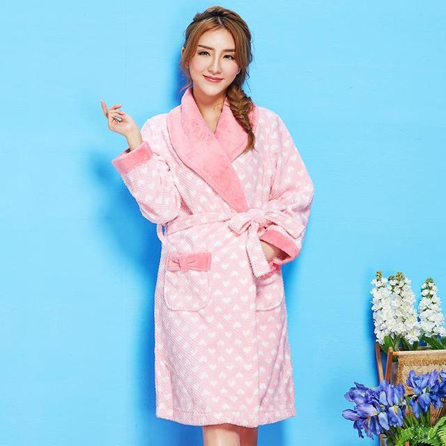 Тепловой фланель халат женский зима утолщение сладкий халаты женские дома службы длинными рукавами