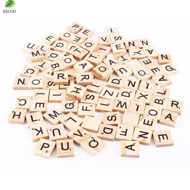 100 шт. деревянные плитки Эрудит Алфавит черные буквы и цифры для изделия из дерева