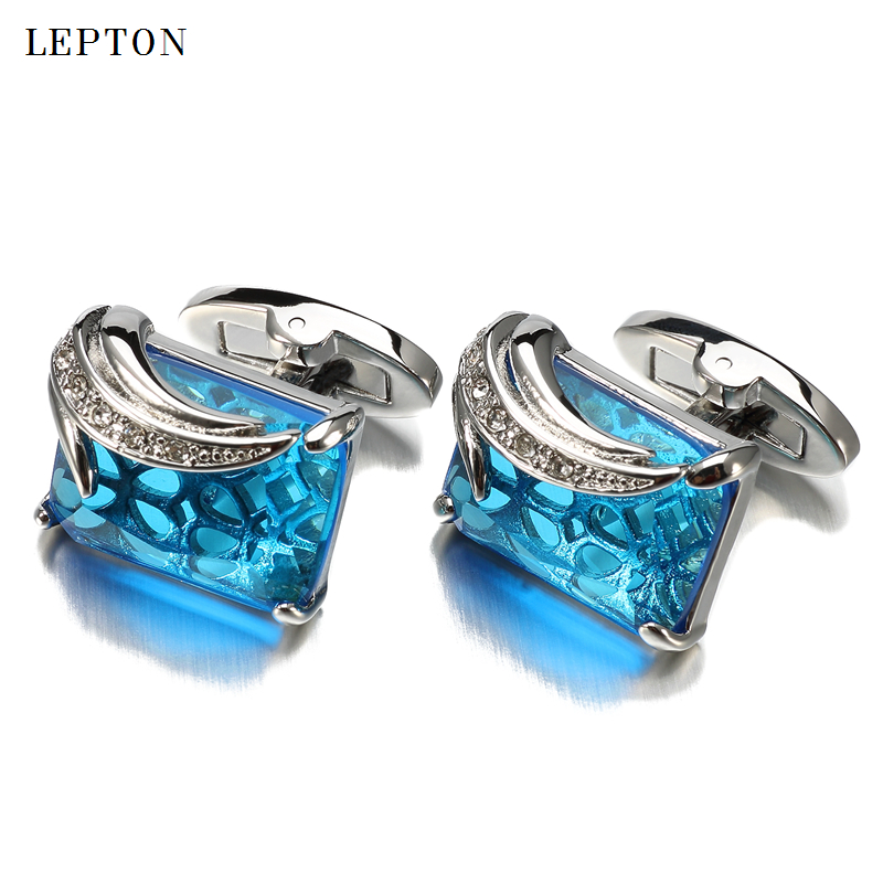 Newest Blue Glass Cufflinks for Mens Low-key Luxury Square Crystal Cufflinks High Quality Shirt Cuffs Cuff Links Relojes Gemelos