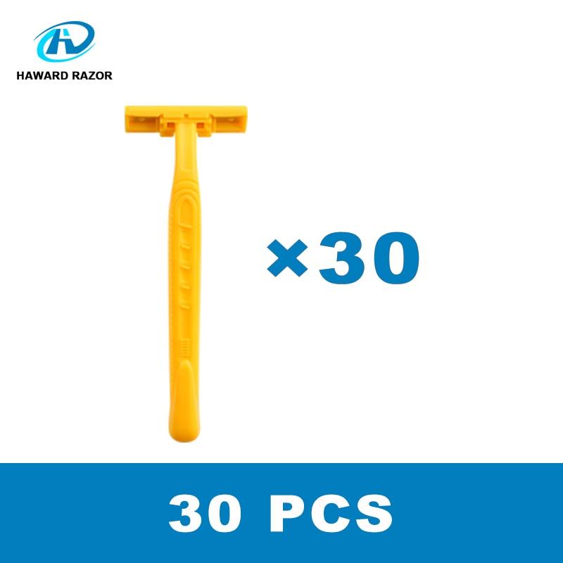 HAWARD Razor 30 Pcs 2 Blades Disposable Razor For Men With Lubricant Strip Super Stainless Steel  Blade Plastic Handle Razor
