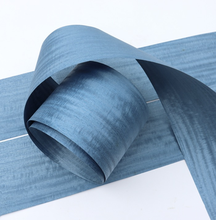 2.5Metes Width:16cm Thickness:0.3mm  Pearlescent Blue Iron Spring Bark Wood Veneer Decorative Veneer