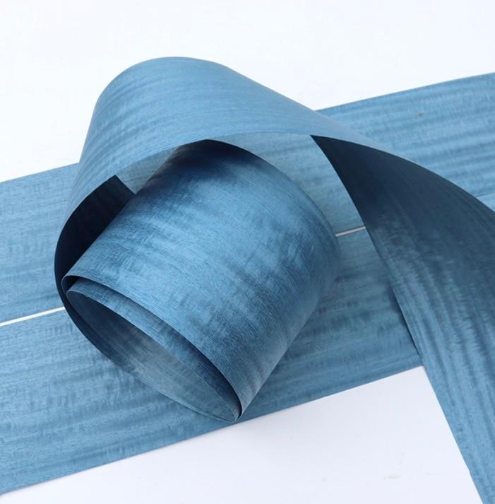 2.5Metes Width:16cm Thickness:0.3mm  Pearlescent Blue Iron Spring Bark Wood Veneer Decorative Veneer
