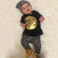 Summer Newborn Baby Clothes Set Baby Boy Clothes Jumpsuit MAMAS BOY Letter Print 2pc Infanti Clothing