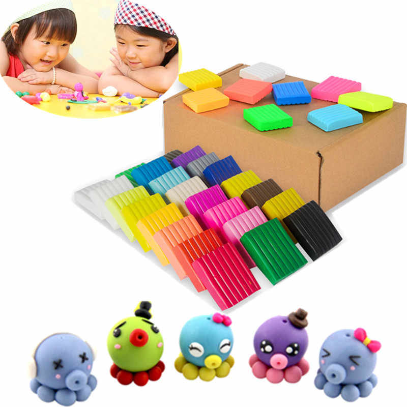 24 Colors DIY Handmade Clay Mud Polymer Clay Fimo Modeling Clay Block Playdough Kids Plasticine Toys Oven Bake Porcelain Tools