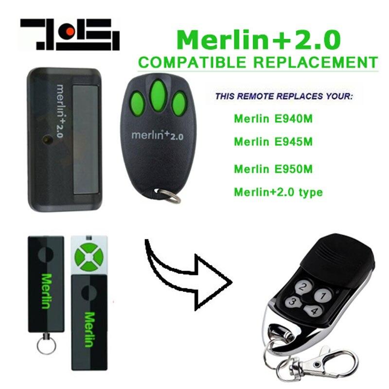 Nuevo para Merlin + 2,0 tipo Merlín E945 E950 Compatible garaje/puerta abridor de puerta mano Control remoto seguridad + 2,0