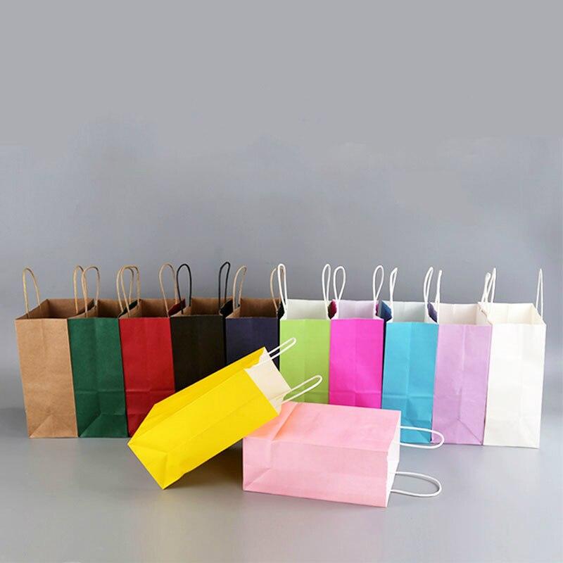100 Pcs/lot sac en papier de couleur douce avec poignées sac cadeau de Festival sacs à provisions de haute qualité sacs d'emballage en papier kraft logo personnalisé
