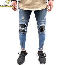 Мужские джинсы Stretch Destroyed Ripped Folds Дизайн Модная лодыжка Застежка-молния Skinny biker Джинсы для мужчин Штаны-штаны плюс размер
