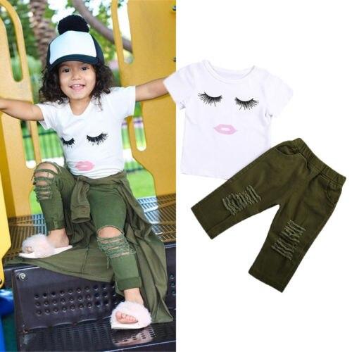 409579ff5aebd 2Pcs Cute Newborn Toddler Baby Girls Eyelashes Tops T-shirt Army Green Pants  Leggings Outfits Clothing Sets 1-4Y