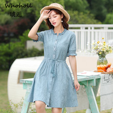 Whoholl Elegant Plaid Sashes Women Dress Short Sleeve A-line Casual Streetwear Female Short Dress Button Summer Dress 2019 M-XXL