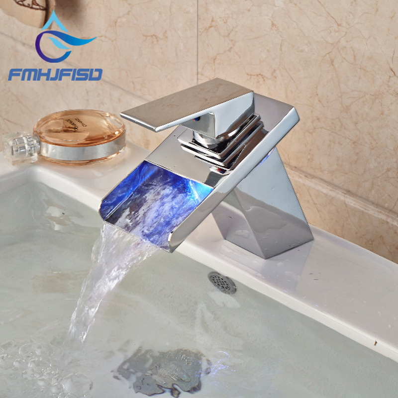 LED Waterfall Spout Chrome Brass Bathroom Basin Faucet Square Vanity Sink Mixer Tap chrome brass square waterfall spout bathroom tub faucet 3 pcs sink mixer tap