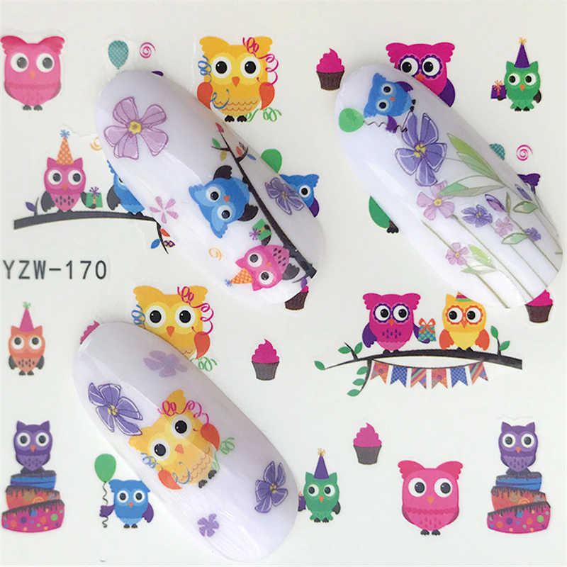 YZWLE New 32 Designs  Mix Owl  Nail Art Water Transfer Decal Sticker For Nail Art Tattoo Slider Label