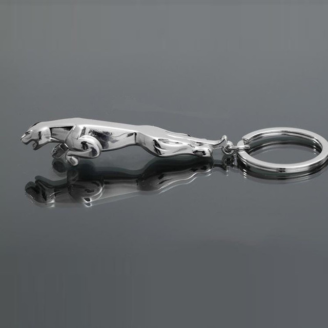 Classic Silver Color Stainless Steel Leopard Keychain Jaguar Car