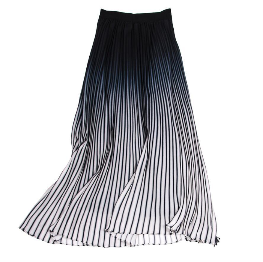 Gradiente Verano Profesional Color Nueva Falda Del Imperio Inglaterra Gasa 2018 Estilo Moda Ocio Plisada Mujer 47p4K0fq