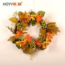 HOYVJOY Autumn Maple Leaf Wreath Vitality Series Handmade 35cm for Front Door/Floral Wall/Room/Gift/Wedding Decor