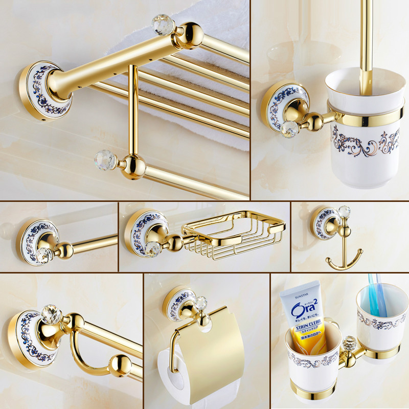 Gold crystal antique bathroom accessories set ceramic base for Cream bathroom accessories set