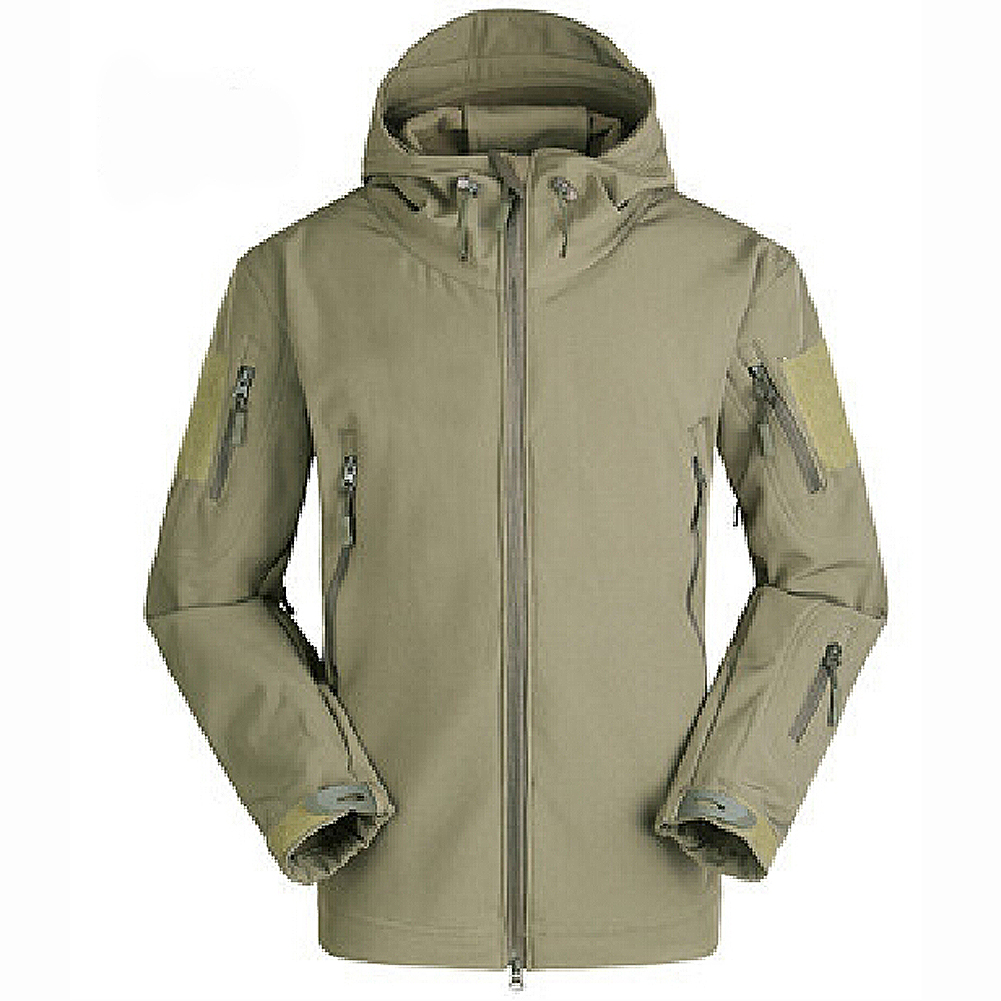 Men Outdoor Jacket Waterproof Coat Shark Skin Soft Shell Hoodie Hunting Duty green S все цены