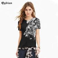 Qybian Gratis Verzending vrouwen top Cool Lion T-Shirt Zwart T-shirts Mannen Hip Hop Tshirt O Hals vrouwen Tops Shirt