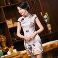 Bamboo Silk Cheongsam Women Summer Silk Chinese Traditional Dress Costume Short Qipao Plus Size Flowers Cheongsam Qipao