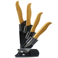 4pc Zirconia Ceramic Knife Set 3 4 5 6 Inch Blade Bamboo Handle Holder Fruit Vegetable