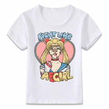 Kids Clothes T Shirt Fight Like A Girl Sailor Moon Mars Titan T-shirt for Boys and Girls Toddler Shirts Tee(China)