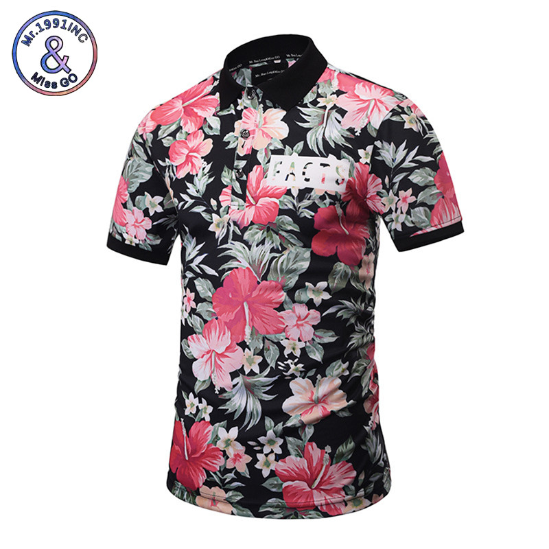 Mr.1991INC 2018 Harajuku   POLO   Shirts Men Summer Tops 3D Print Leaves And Flowers Fashion Brand   Polo   Shirts