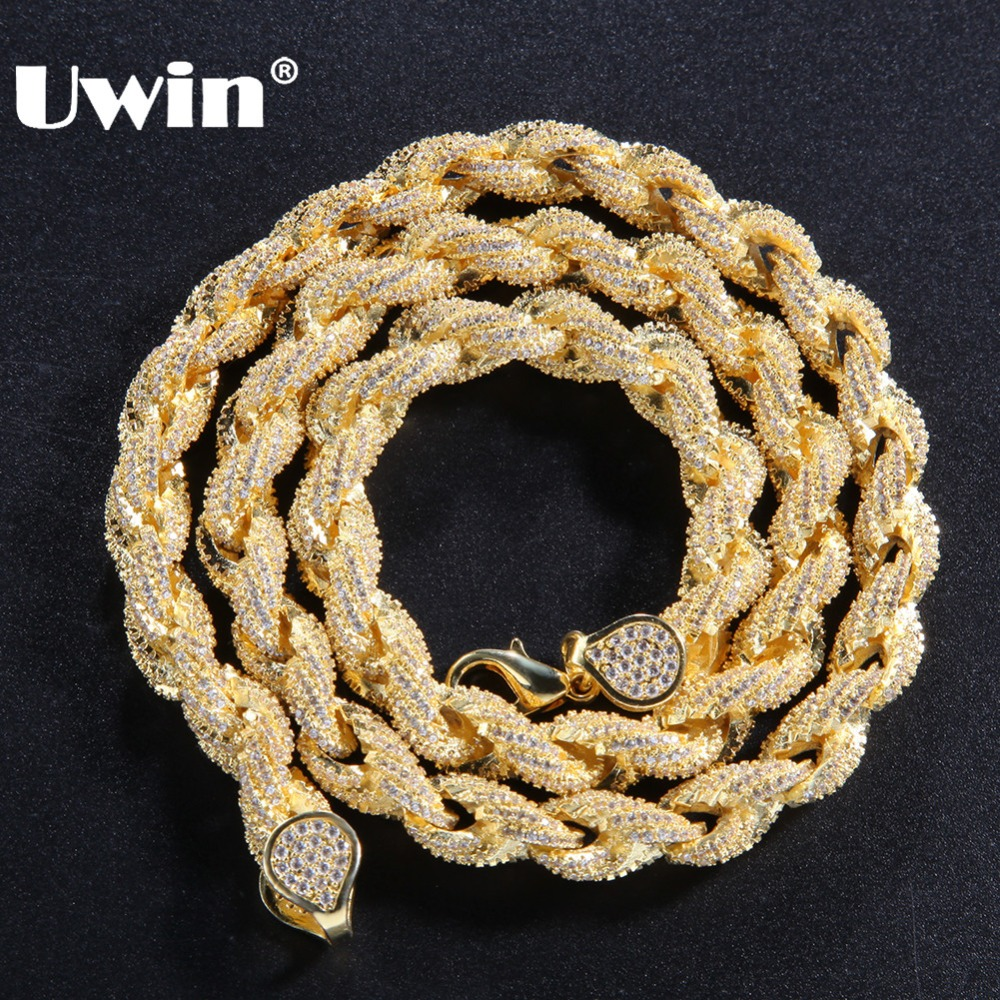 Uwin Bling Bling 8mm Rope Chain Luxury Micro Pave Iced Out Cubic Zirconia Necklace For Men Gold Color Fashion Hiphop Jewelry