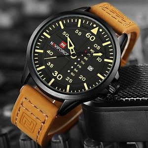Image 5 - NAVIFORCE Luxury Brand Men Army Military Watches Mens Quartz Date Clock Man Leather Strap Sports Wrist Watch Relogio Masculino