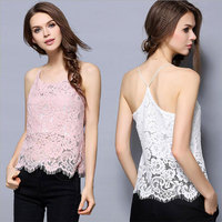 New Women Sexy Solid Lace Tank Tops Sleeveless Hollow Out Beach Halter Top For Lady Girls Vest Camisole Black Pink White Color