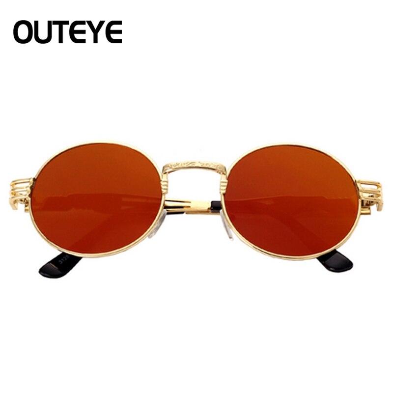 Luxo Metal óculos de Sol Redondos Homens Revestimento de óculos de Sol  Steampunk Óculos Retro Rodada Óculos De Sol Dos Homens Do Vintage 73b25f03c3