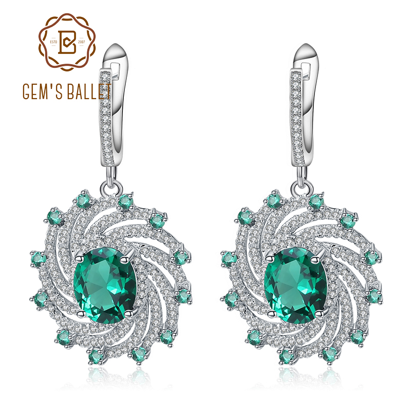 GEM S BALLET Nano Emerald Green Spiral Shape Earrings Real 925 Sterling Silver Gemstone Drop Earrings
