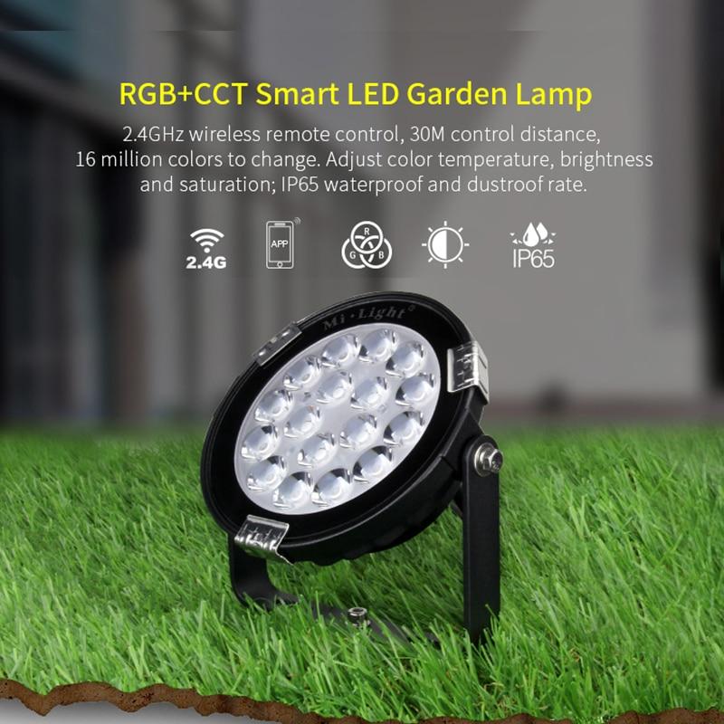 Milight 9W IP65 Waterproof RGB+CCT DC24V smart LED garden light FUTC01 2.4G FUT092 remote