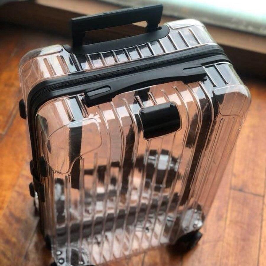 גבוהה-סוף מגמת רוכסן מזוודות 20/24 אינץ באיכות גבוהה שקוף PC ספינר נסיעות תיק מטען מתגלגל