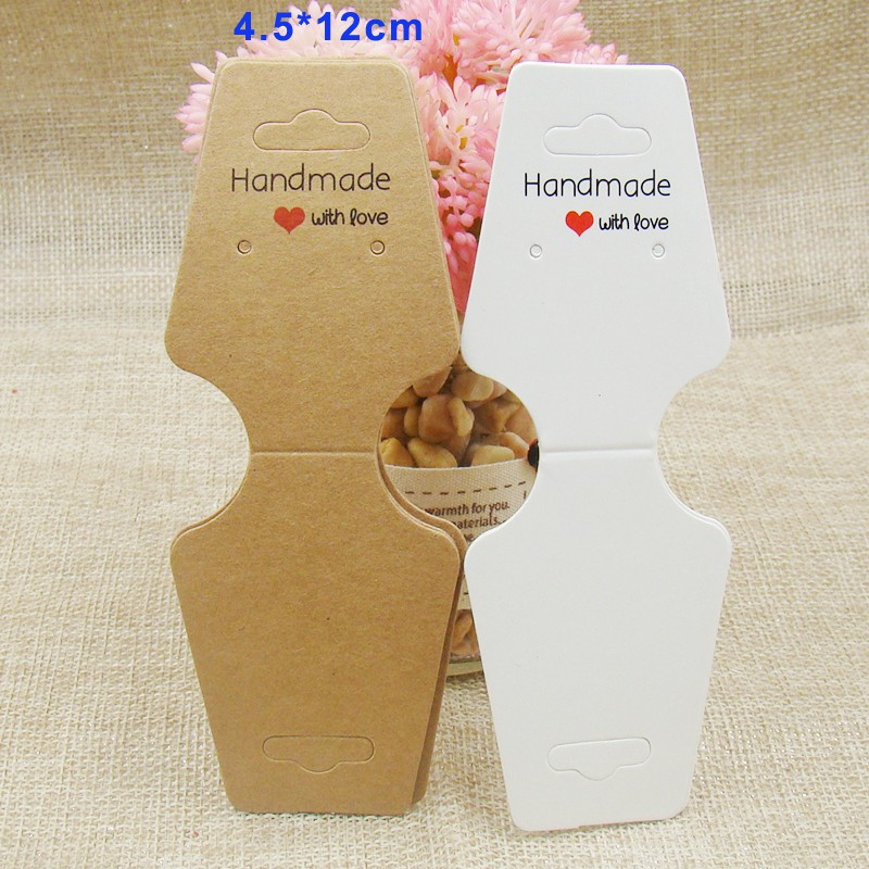 100pcs per lot White /kraft handmade necklace jewelry dispaly card with love printed for necklace head holder display show