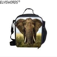 Elviswords الفيل طباعة معزول حقيبة الغداء للأطفال الصغيرة crossbody حقيبة الغداء برودة نزهة حالة للبنين بالجملة