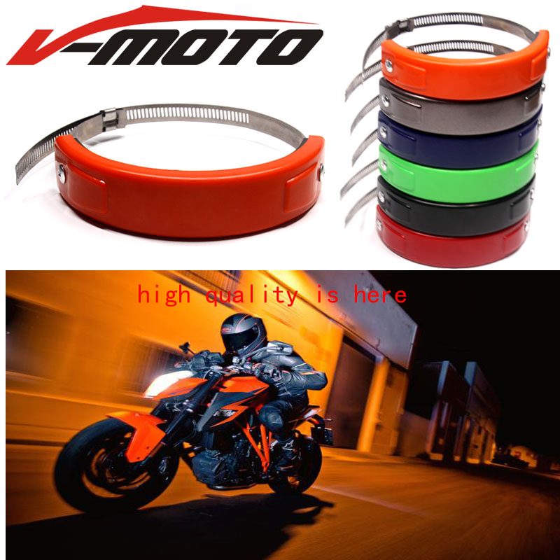 For KTM 690 SMC/SMC R Motorcycle Silencer Round Oval Exhaust Protector Protect Can Cover Circle ORANGE