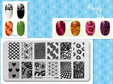 Morning Glory Love Pattern DIY Manicure Nail Art Stamp Template Image Plate Rctangular Stamping PLates Set Beauty Polish Tools