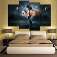 Wall Art Pictures 4 Pieces Game Battlefield Poster  Modern Artwork Home Decorative Canvas Print Night Operations Painting
