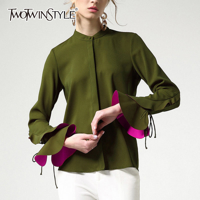 TWOTWINSTYLE Ruffles Blouse Top For Women Flare Sleeve Lace Up Green Basic Shirt