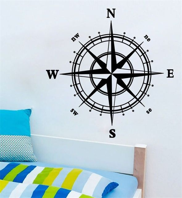 Home Decor Decal Compass Removable Wall Sticker DIY Vinyl Room Mural ...