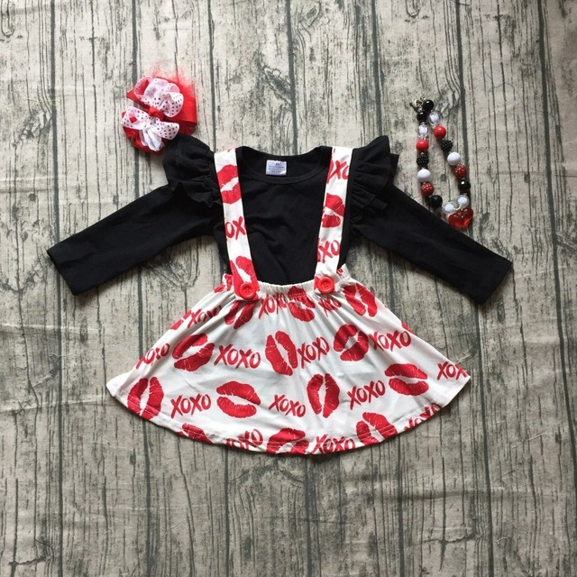 c7899f98a69d girls Fall/winter baby girls Valentine's day clothes children black top  with kiss mouth XO skirts 2 pieces sets with accessories