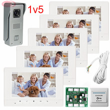 1v5 Apartment Color Screen Video DoorPhone Intercom System With Weatherproof/Night Vision/Unlock/Monitor/ Function Free Shipping
