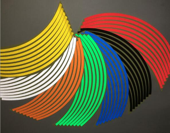 16Pcs/lot 18inch Strips Wheel Stickers Decals Reflective Rim Tape Bike Motorcycle Car Tape