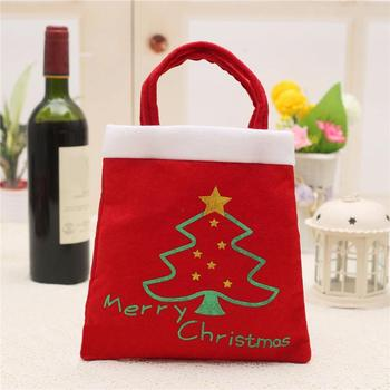 5 Pcs Merry Christmas Red Candy Bag Tree Print Pouch Home Party Decor Gift 3