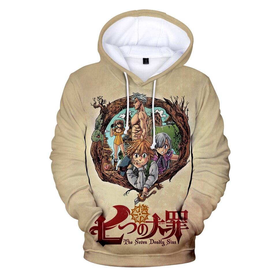 2019 Hot Sale NANATSU NO TAIZAI 3D Printing Hoodies Male/Female Funny Cartoon Clothes Top NANATSU NO TAIZAI Hooded Sweatshirt