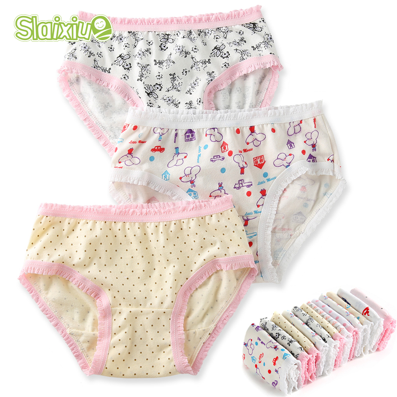 6Pcslot 100 Organic Cotton Baby Girls Briefs High Quality Kids Briefs Shorts Panties -6456
