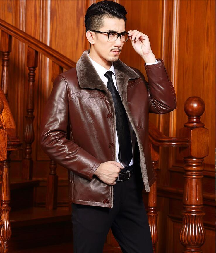 ONE FUR Winter Jacket Men Genuine leather jackets men's Sheep leather coat Winter jacket male Plus size 4XL
