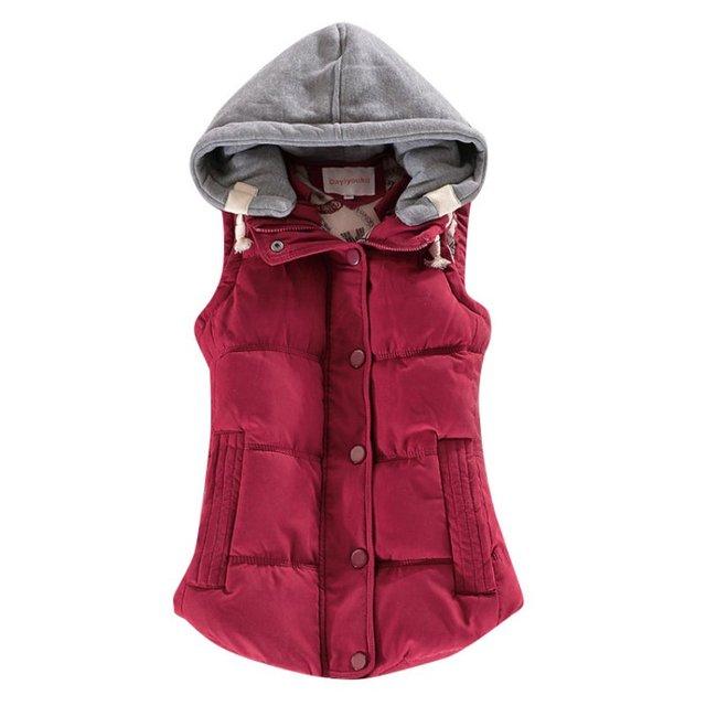 Alta Calidad Chalecos Otoño Invierno Algodón de Las Mujeres Del Remiendo de Las Mujeres Sin Mangas Con Capucha Collar Casual Escudo Colete Jackets